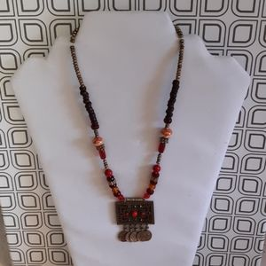 Avenue Brass Pendant Red Glass Bead Necklace